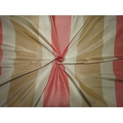 "100% SILK TAFFETA fabric  stripes beige gold ,Caramel gold AND salmon pink , TAFS163[5] 54"" wide sold by the yard"