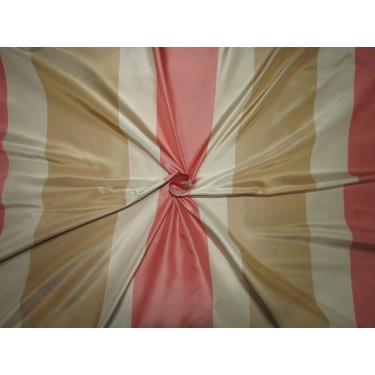 """100% SILK TAFFETA fabric  stripes beige gold ,Caramel gold AND salmon pink , TAFS163[5] 54"""" wide sold by the yard"""