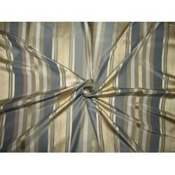 "100% SILK TAFFETA stripes beige gold ,blue and cream stripe fabric 54""TAFS164[3] by the yard"