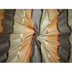 "6.25 YARDS  100% SILK TAFFETA satin stripes fabric shades of peach,grey,brown,beige and multi  54""TAFS164[6]"