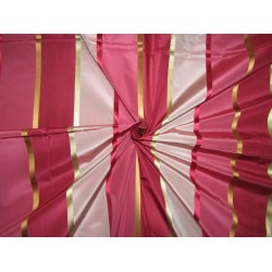 "6.75 YARDS  100% SILK TAFFETA satin stripes fabric shades of dusty pink to pinkish reds 54""TAFS164[5]"