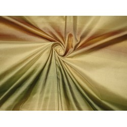 "Silk Taffeta Fabric Brown,Green & Gold stripes TAF S#20 54"" wide sold by the yard"