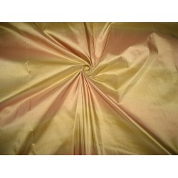 "Silk Taffeta Fabric Light Peachy Pink & Gold stripes 54"" wide sold by the yard"