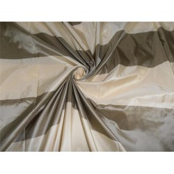 SILK TAFFETA FABRIC DUSTY GREEN X CREAM COLOR STRIPES 54""
