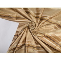 """SILK TAFFETA FABRIC GOLD X BROWN SATIN STRIPES COLOR 54"""" wide sold by the yard"""
