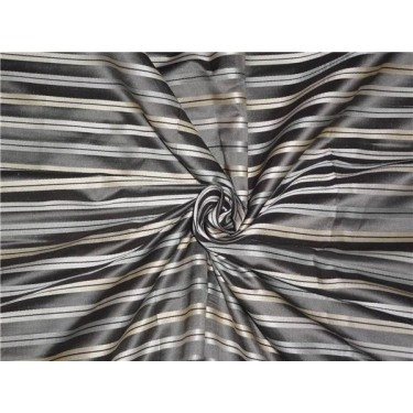 """SILK TAFFETA FABRIC GREY IVORY & CREAM COLOUR WITH SATIN STRIPES 54"""" wide sold by the yard"""