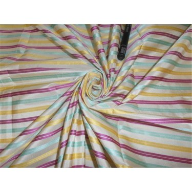 """SILK TAFFETA FABRIC MULTI COLOR WITH SATIN STRIPES 54"""" wide sold by the yard"""