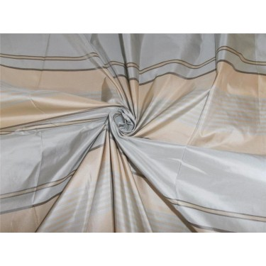 """SILK TAFFETA FABRIC POWER BLUE,CREAM AND BROWN STRIPES COLOR 54"""" wide sold by the yard"""