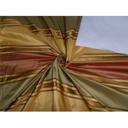 """SILK TAFFETA FABRIC YELLOW,RED X GOLD SATIN STRIPES 54"""" wide sold by the yard"""