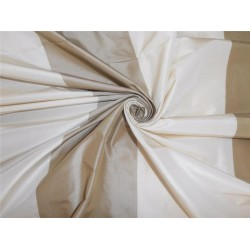 """SILK TAFFETA FABRIC OFFWHITE X OLIVE GREEN STRIPES COLOR 54"""" wide sold by the yard"""