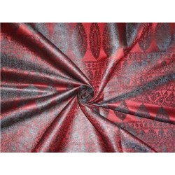 "Viscose Silk Brocade 44""inches Maroon with Black"