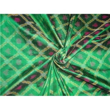 """100% pure silk dupioni ikat fabric in green 44"""" inches by the yard"""