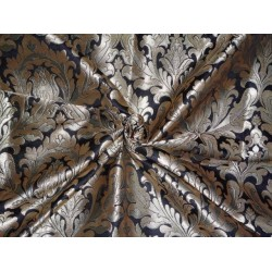 SILK BROCADE FABRIC JET BLACK ANTIQUE GOLD METALLIC GOLD