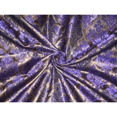 SILK BROCADE FABRIC ROYAL BLUE WITH METALLIC GOLD 44 INCHES
