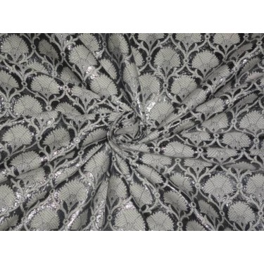 SILK BROCADE FABRIC SILVER GREY WITH IVORY 44 INCHES