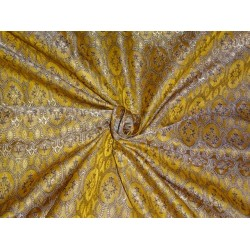 SILK BROCADE FABRIC YELLOW GOLD AND BLACK 44 INCHES