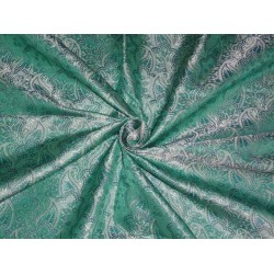 SILK BROCADE sea green  /blue and silver 44 INCHES