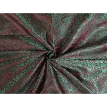 SILK BROCADE MAROON AND GREEN 44 INCHES