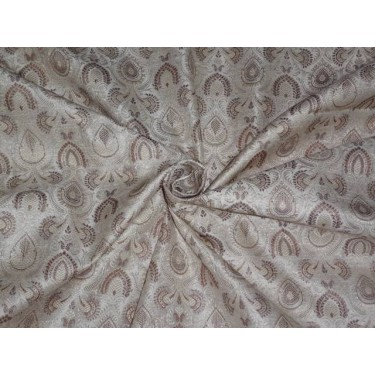 """SILK BROCADE 44""""INCHES CREAM,IVORY X BROWN COLOR"""