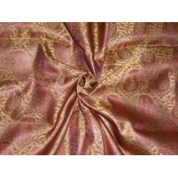 "Silk Brocade 44""inches Maroon and Metallic Gold Color"