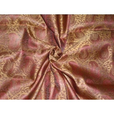 """Silk Brocade 44""""inches Maroon and Metallic Gold Color  BRO373[1] by the yard"""