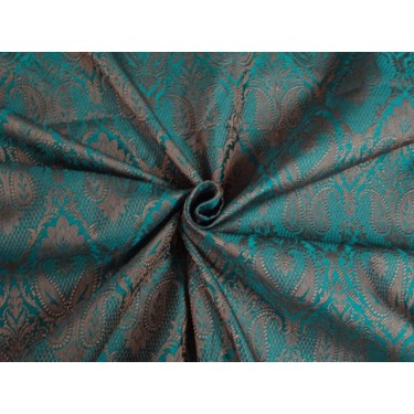 """SILK BROCADE 44""""INCHES KINGFISHER GREEN & BROWNISH GOLD COLOR"""