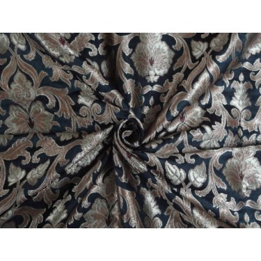 """SILK BROCADE 44""""INCHES BLACK MAROON AND GOLD"""