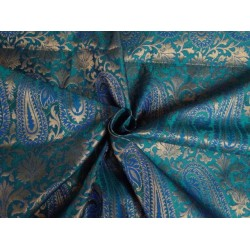 "SILK BROCADE 44""INCHES ROYAL BLUE,GREEN WITH METALLIC GOLD COLOR"