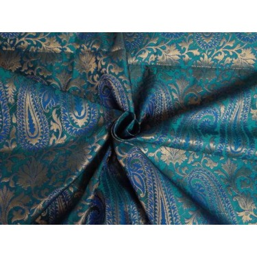 """SILK BROCADE 44""""INCHES ROYAL BLUE,GREEN WITH METALLIC GOLD COLOR"""