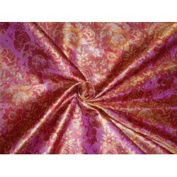 "SILK BROCADE PURPLE RED MUSTARD & GOLD COLOR 44""INCH"