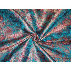 "SILK BROCADE TURQUOISE BLUE,RED,MUSTARD COLOR 44""INCH"