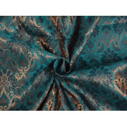 SPUN BROCADE FABRIC GREENISH BLUE WITH METALLIC GOLD COLOR