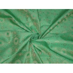 "SPUN SILK BROCADE FABRIC PISTA GREEN COLOR 44""INCHES"