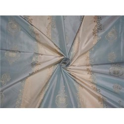 STUNNING SILK TAFFETA JACQUARD~ Powder Blue and Gold TAFSJ17[2]