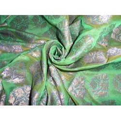 "BROCADE PARROT GREEN, ROYAL BLUE X METALLIC GOLD COLOR 44"" wide sold by the yard"