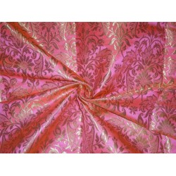 "HEAVY BROCADE NEON PINK X METALLIC GOLD COLOR 36""INCH"