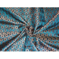 SILK BROCADE FABRIC INDIGO BLUE WITH METALLIC GOLD