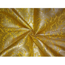 "HEAVY PURE SILK BROCADE FABRIC DARK YELLOW COLOR 36""INCHES"