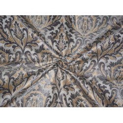 "HEAVY PURE SILK BROCADE IVORY,GREYISH SILVER,BUTTER GOLD COLOR 36""INCH"