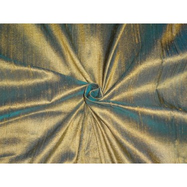 """MUSTERED GOLD WITH GREEN IRIDESCENT SILK DUPIONI 44""""~WITH SLUBS"""