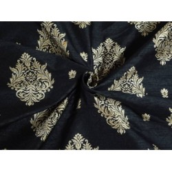 SILK BROCADE FABRIC BLACK X METALLIC GOLD