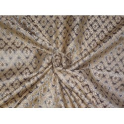 SILK BROCADE FABRIC DUSTY GREY,LIGHT GOLD AND BROWN