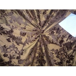 """54"""" wide silk dupioni bronze x brown velvet embroidery  by the yard"""