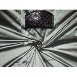 PURE SILK DUPIONI FABRIC GREYISH BLACK COLOR