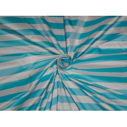 """100 % silk taffeta sky blue and white colour stripe 54"""" wide sold by the yard"""