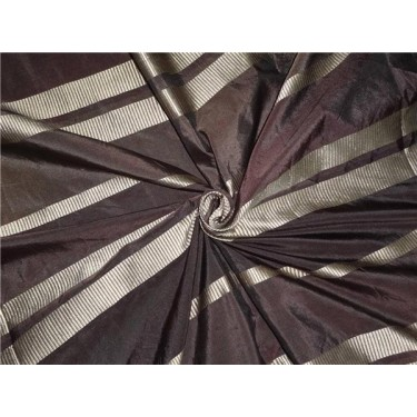 """Brown Colour taffeta with satin stripes 54"""" wide sold by the yard"""