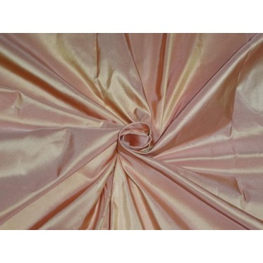 """100% PURE SILK TAFFETA FABRIC IRIDESCENT CANDY PINK LIGHT GOLD 54"""" wide sold by they yard"""