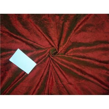 """100% Pure SILK CRUSHED Dupioni FABRIC RED X GREEN color 60"""""""