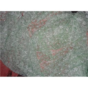 Embroidered pastel green net fabric