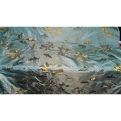 """silk taffeta fabric icy green x light gold with golden brown embroidery 54"""" wide"""